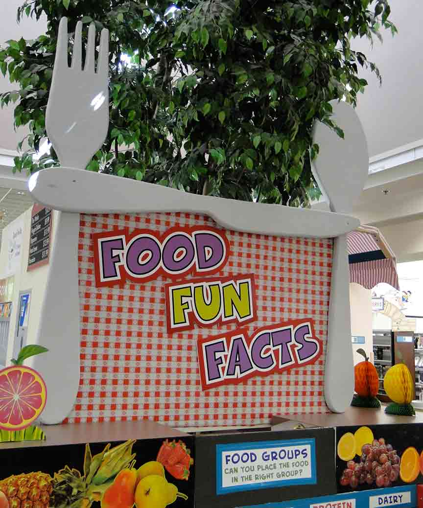 Header for Food Fun Facts Play Area featuring sculpted silverware.